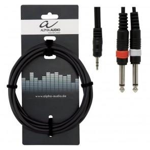 Gewa kabel adapter 2 mono 6,3mm jackovi - stereo 3,5 jack, 3m