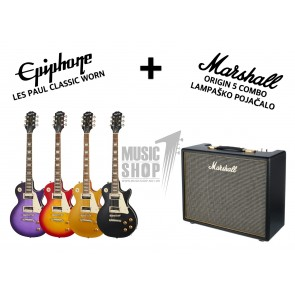 Epiphone Les Paul Classic Worn i Marshall Origin 5 komplet