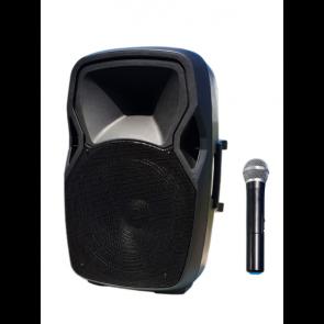 Mini razglas sa bežičnim VHF mikrofonom, USB player, BT, punjiva baterija